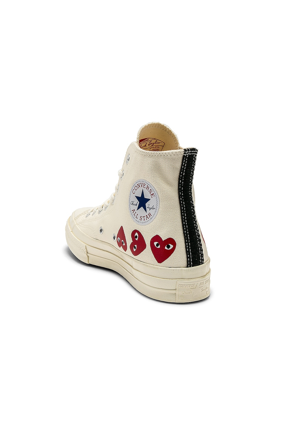 Image 3 of Comme Des Garcons PLAY Emblem Hi Top Sneaker in Off White