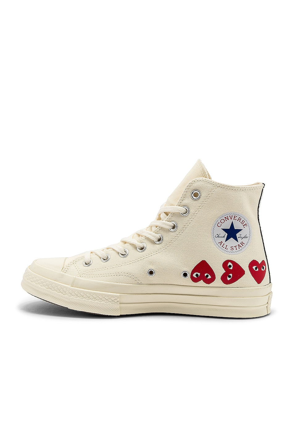 Image 5 of Comme Des Garcons PLAY Emblem Hi Top Sneaker in Off White