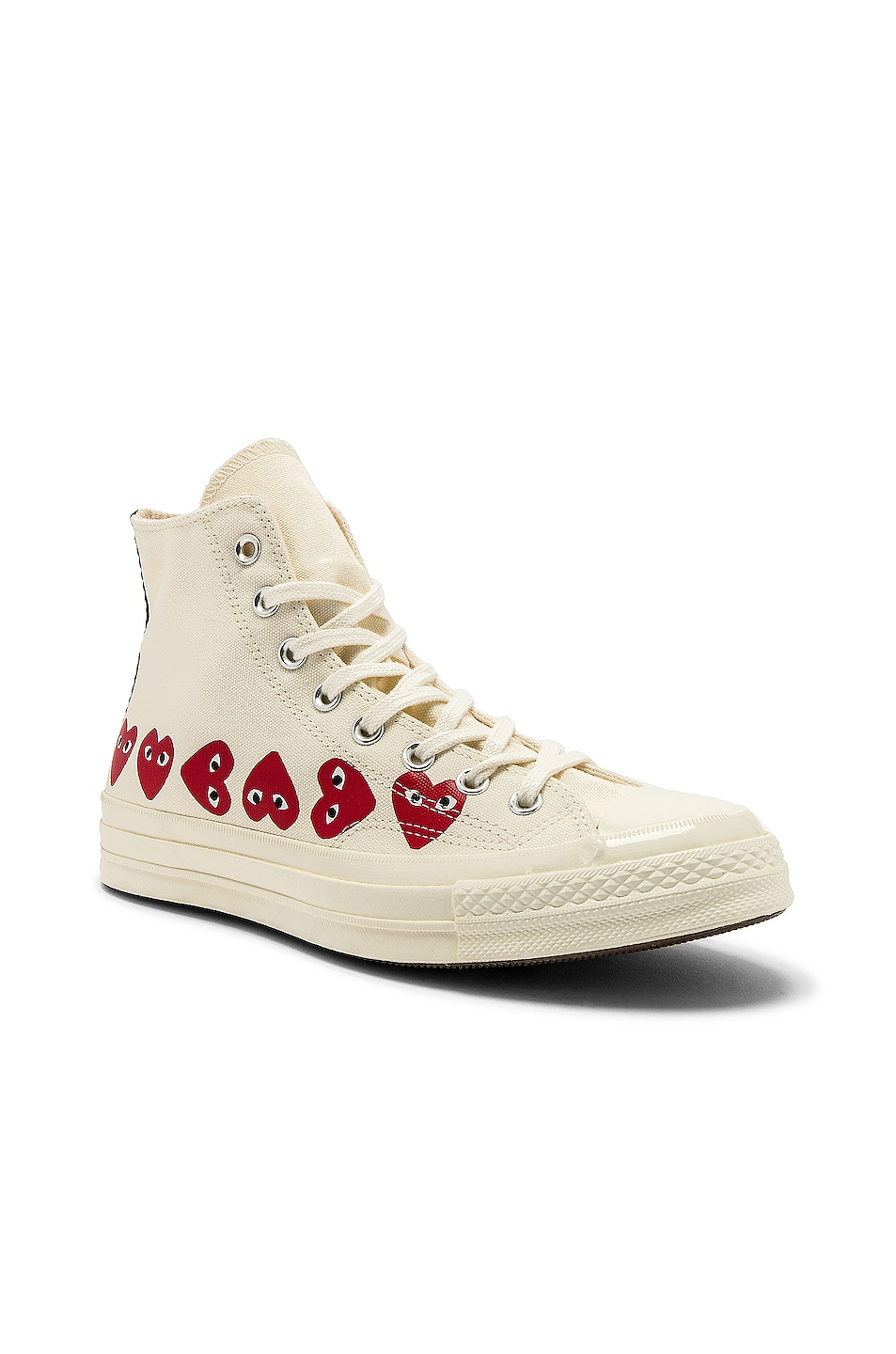 Image 2 of Comme Des Garcons PLAY Emblem Hi Top Sneaker in Off White