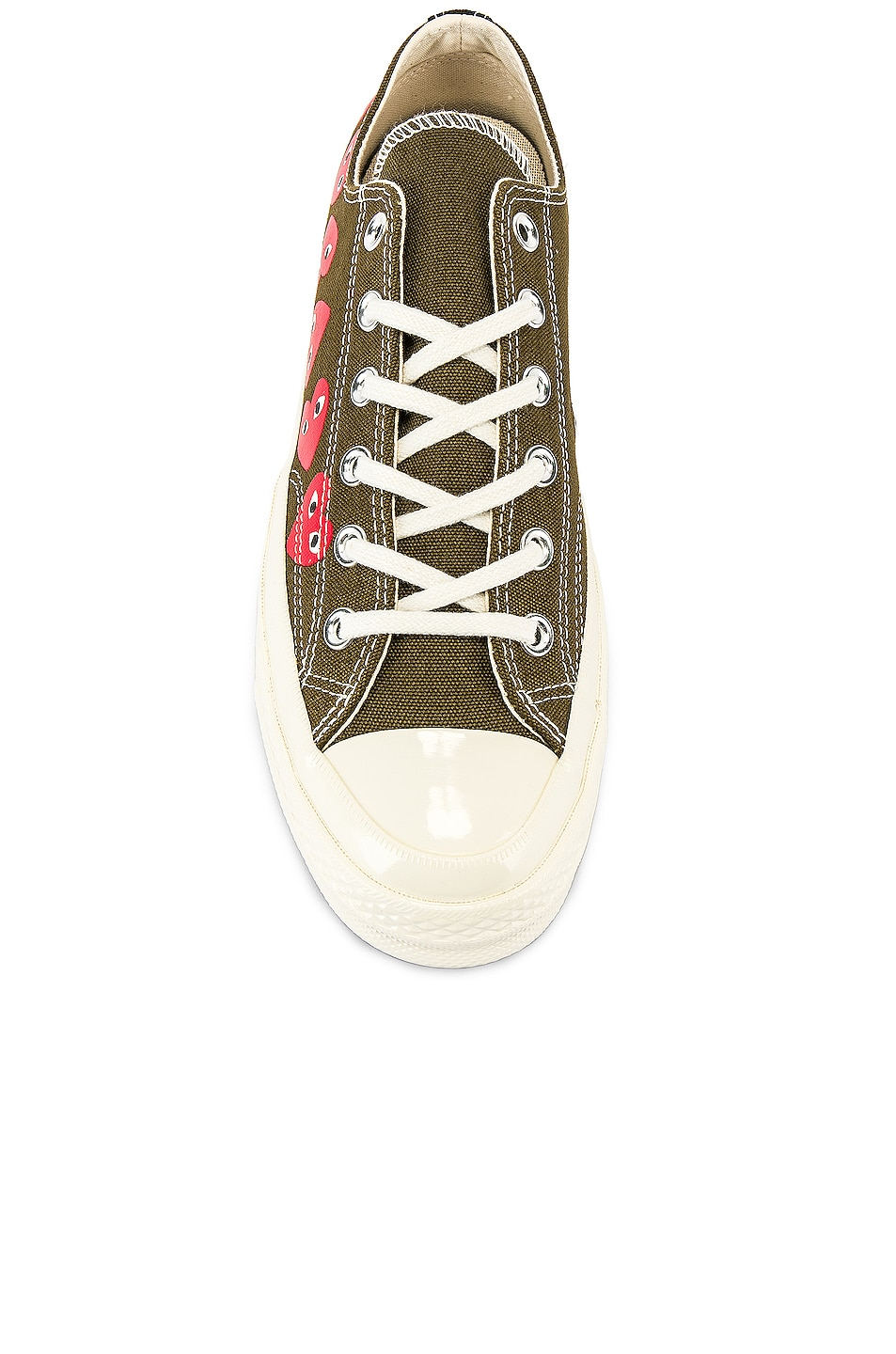 Image 4 of Comme Des Garcons PLAY Emblem Low Top Sneaker in Khaki