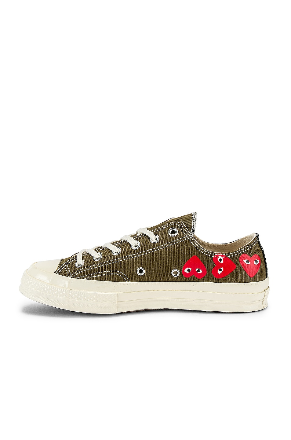 Image 5 of Comme Des Garcons PLAY Emblem Low Top Sneaker in Khaki