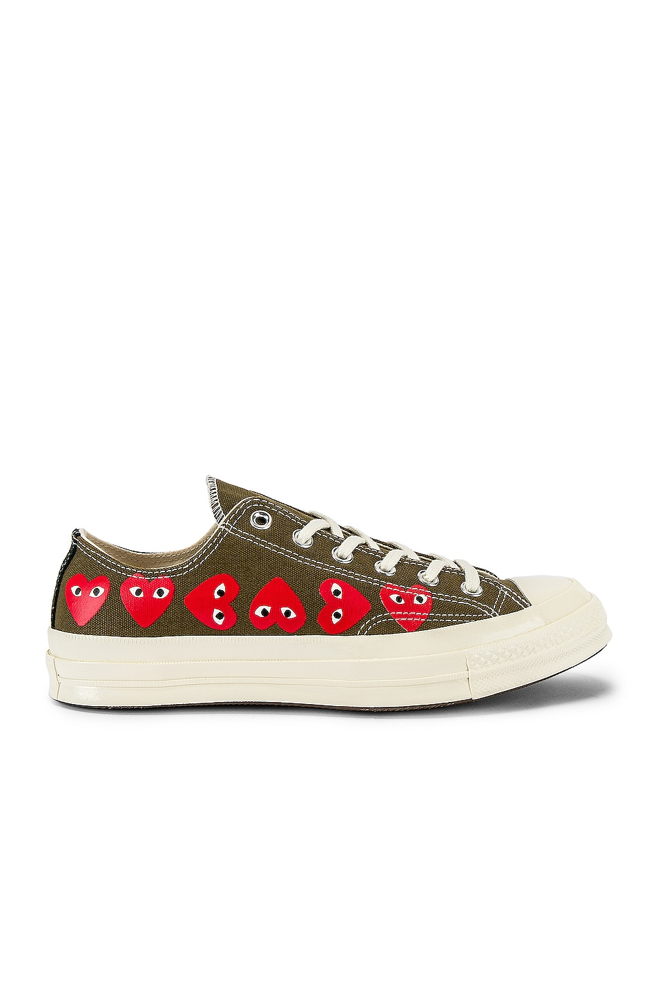Image 1 of Comme Des Garcons PLAY Emblem Low Top Sneaker in Khaki