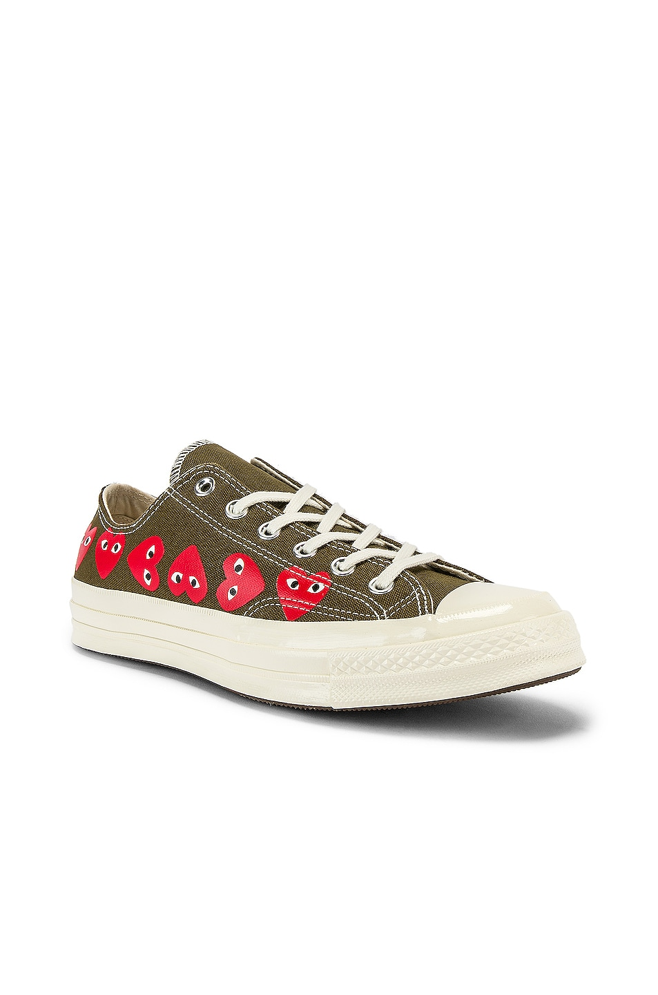 Image 2 of Comme Des Garcons PLAY Emblem Low Top Sneaker in Khaki