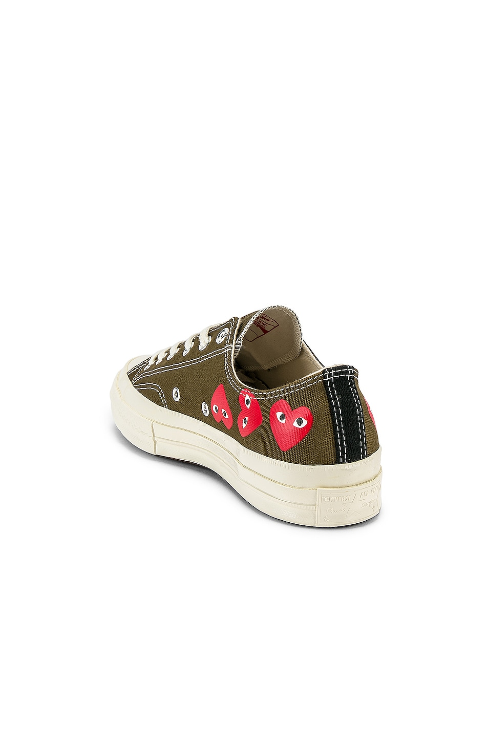 Image 3 of Comme Des Garcons PLAY Emblem Low Top Sneaker in Khaki
