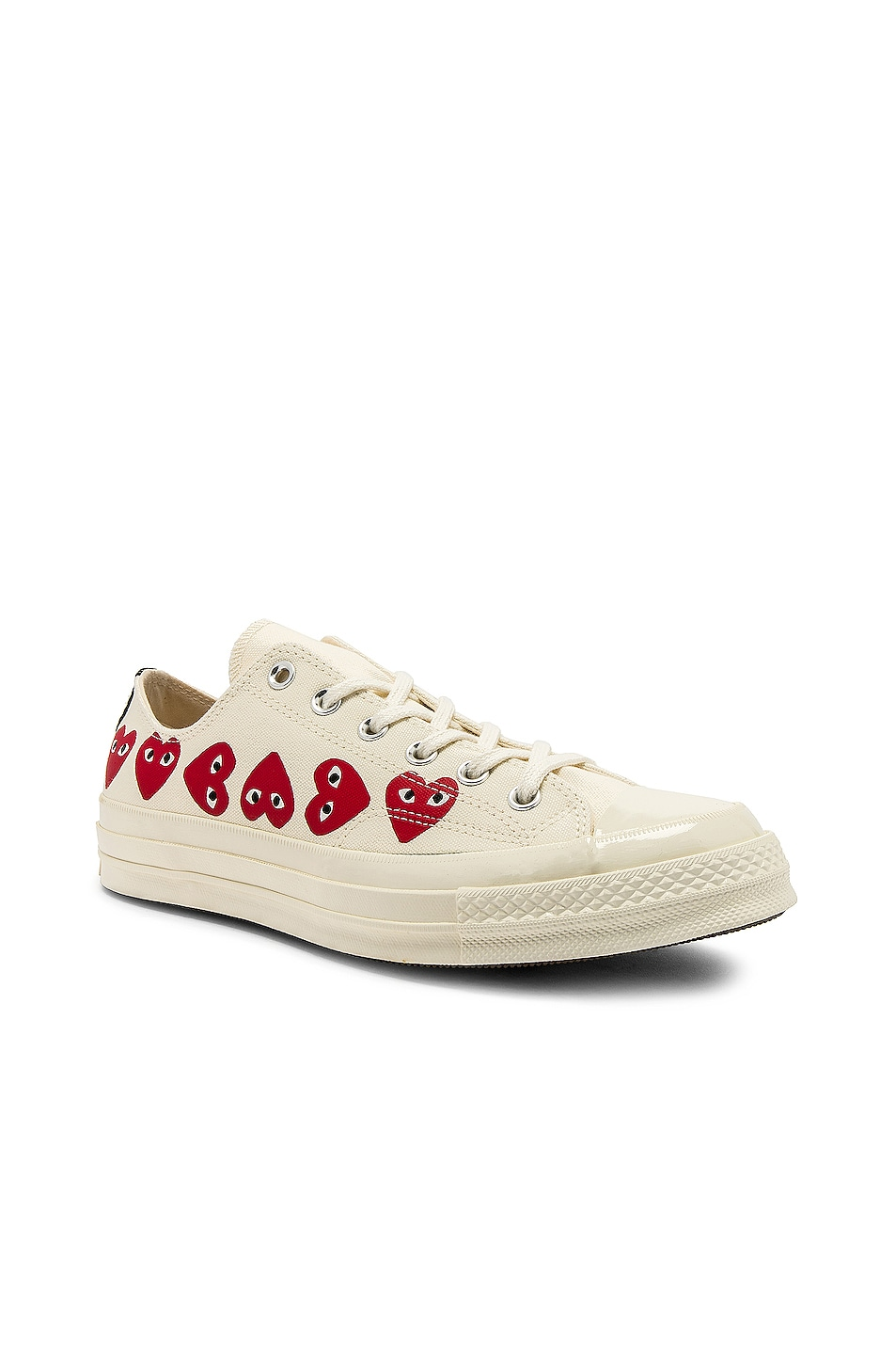 Image 2 of Comme Des Garcons PLAY Emblem Low Top Sneaker in Off White
