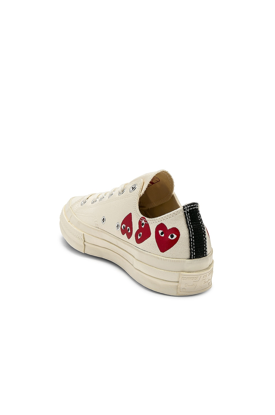 Image 3 of Comme Des Garcons PLAY Emblem Low Top Sneaker in Off White