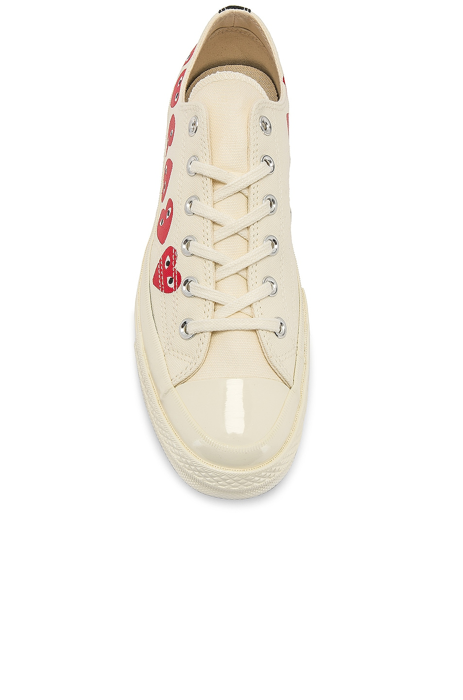 Image 4 of Comme Des Garcons PLAY Emblem Low Top Sneaker in Off White