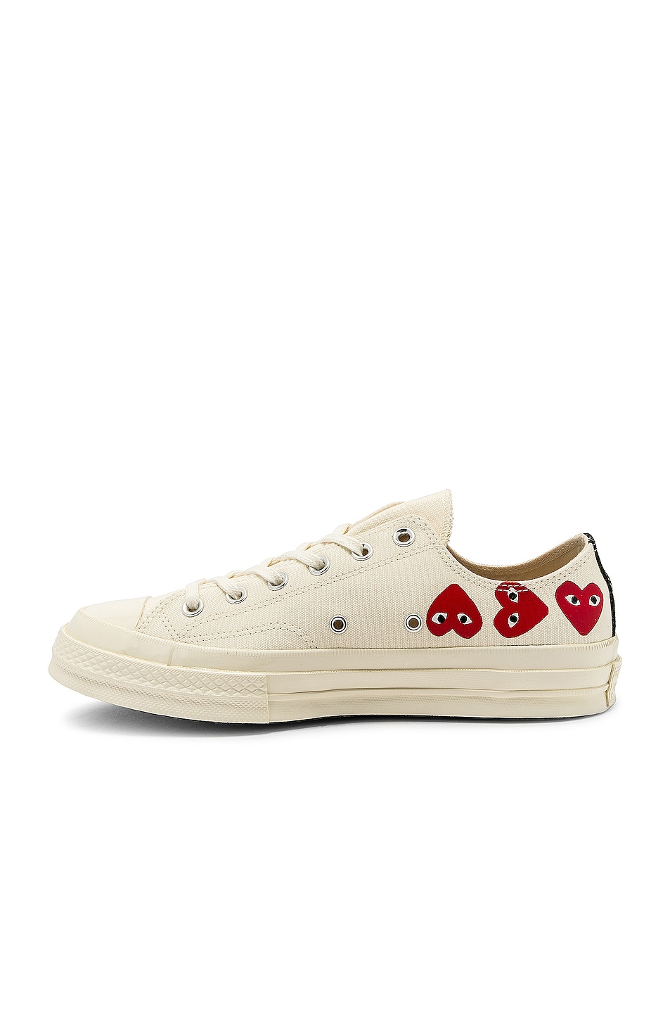 Image 5 of Comme Des Garcons PLAY Emblem Low Top Sneaker in Off White