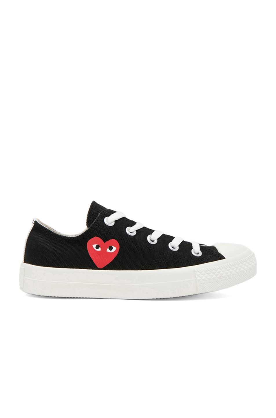 Image 1 of Comme Des Garcons PLAY Converse Canvas Sneakers in Black & Red