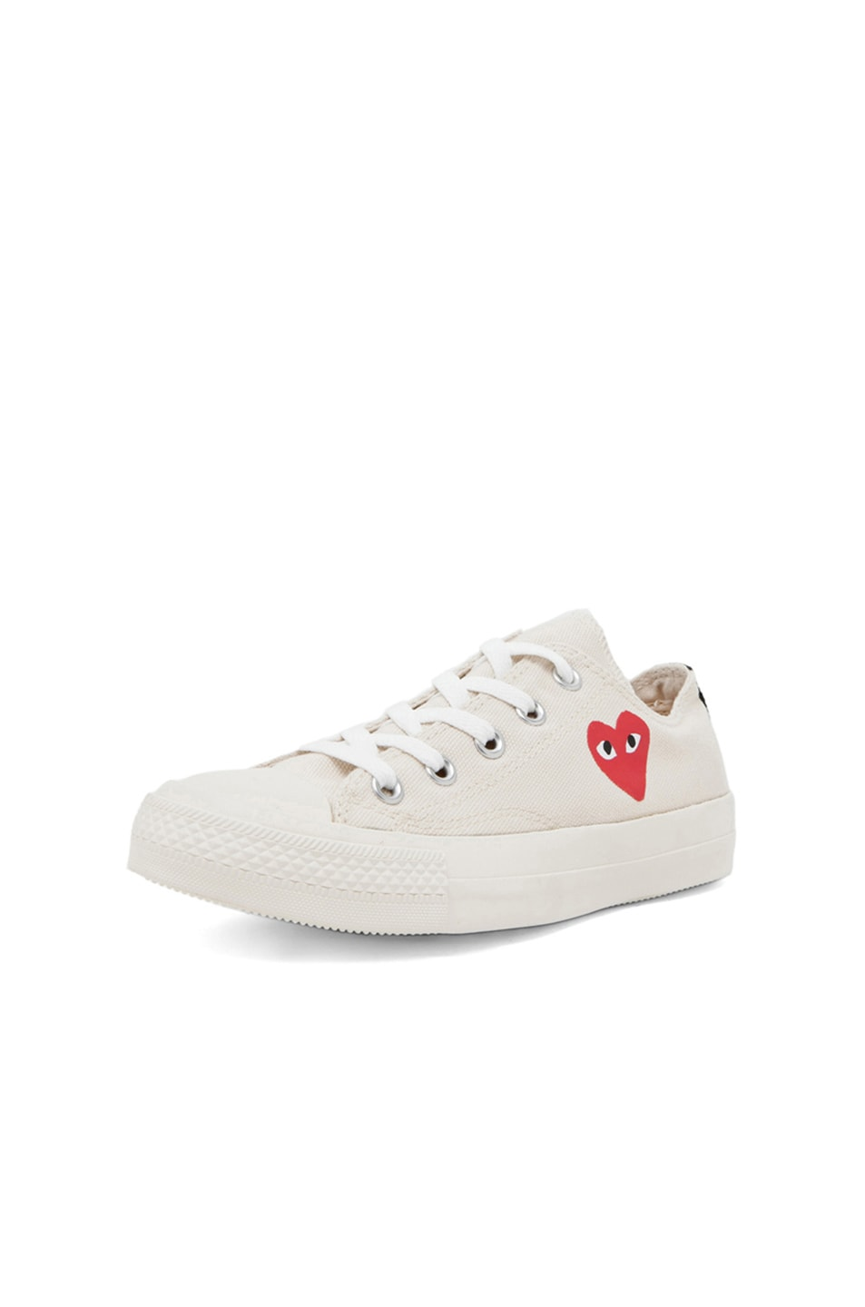 Image 2 of Comme Des Garcons PLAY Converse Canvas Sneakers in White & Red