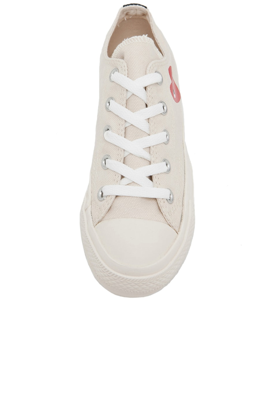 Image 4 of Comme Des Garcons PLAY Converse Canvas Sneakers in White & Red