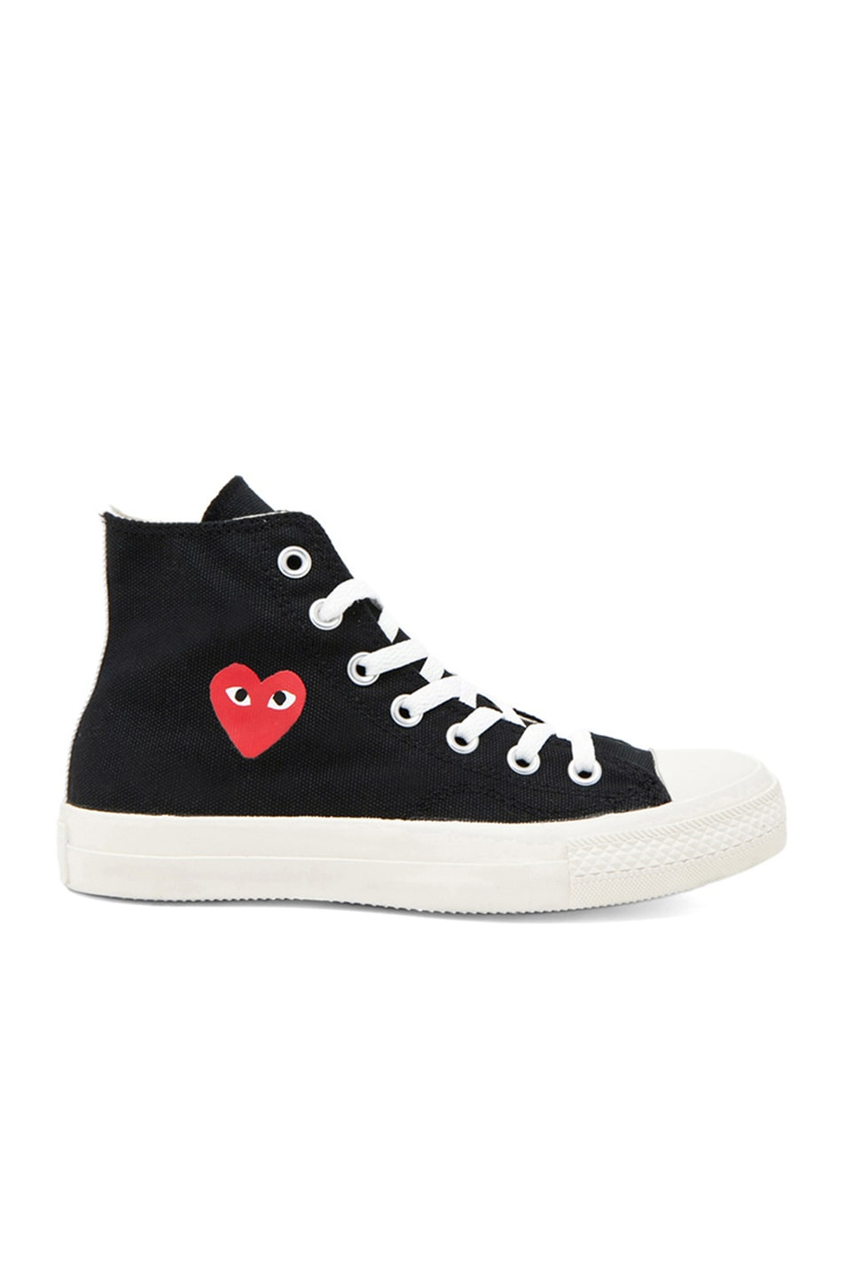 ed62a90358e5a Image 1 of Comme Des Garcons PLAY Converse High Top Canvas Sneakers in Black  & Red
