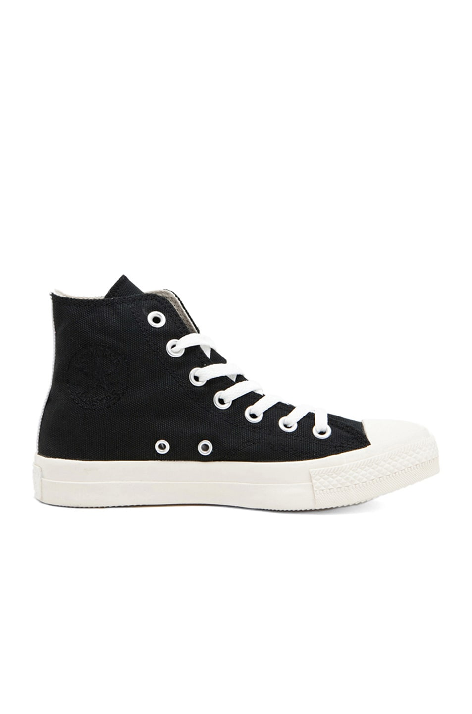 Image 5 Of Comme Des Garcons PLAY Converse High Top Canvas Sneakers In Black Red