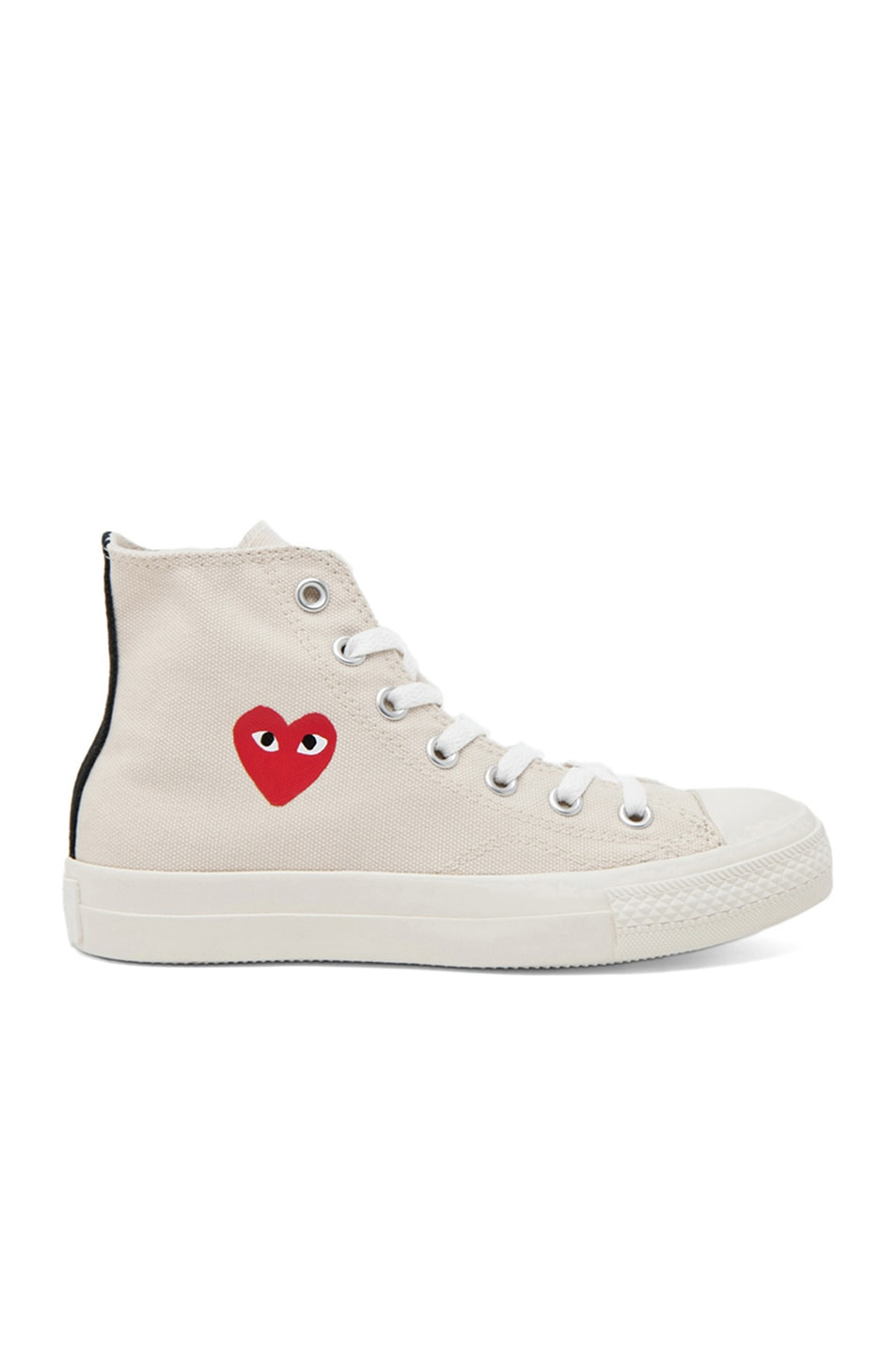 Image 1 of Comme Des Garcons PLAY Converse High Top Canvas Sneakers in White & White