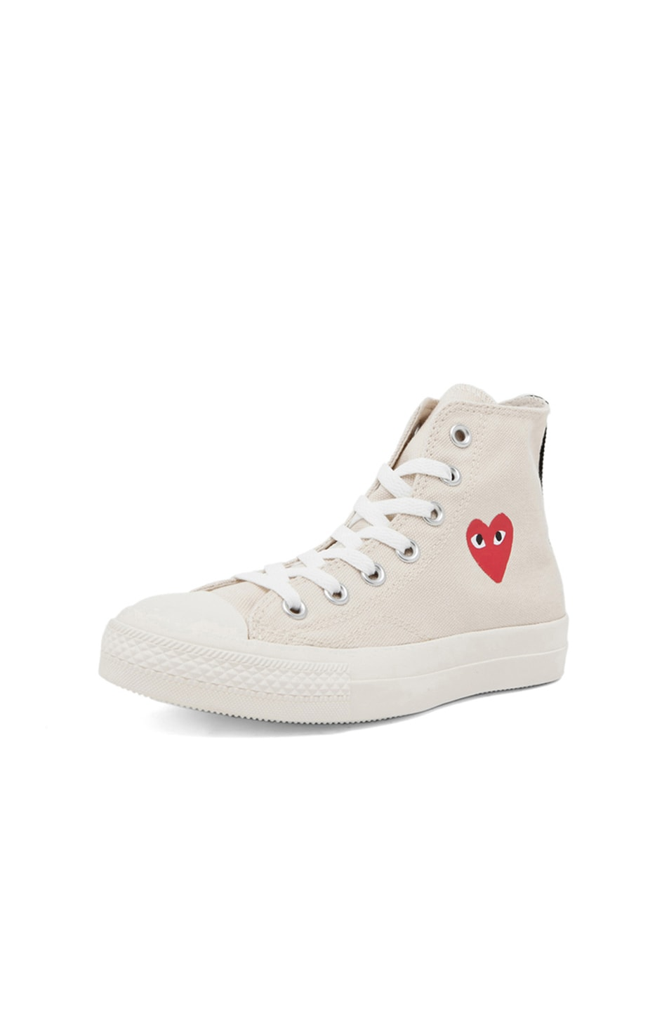Image 2 of Comme Des Garcons PLAY Converse High Top Canvas Sneakers in White & White