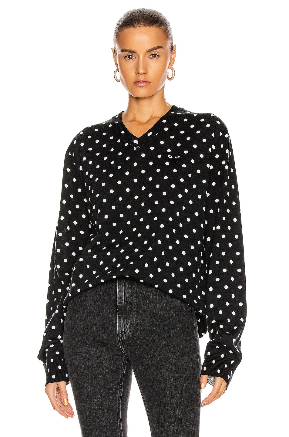 Image 1 of Comme Des Garcons PLAY Wool Jersey Dot Print Black Emblem Sweater in Black