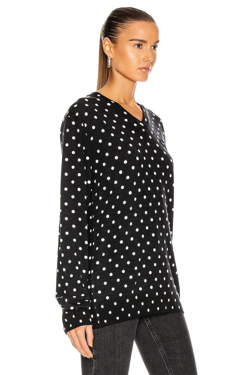 Image 2 of Comme Des Garcons PLAY Wool Jersey Dot Print Black Emblem Sweater in Black