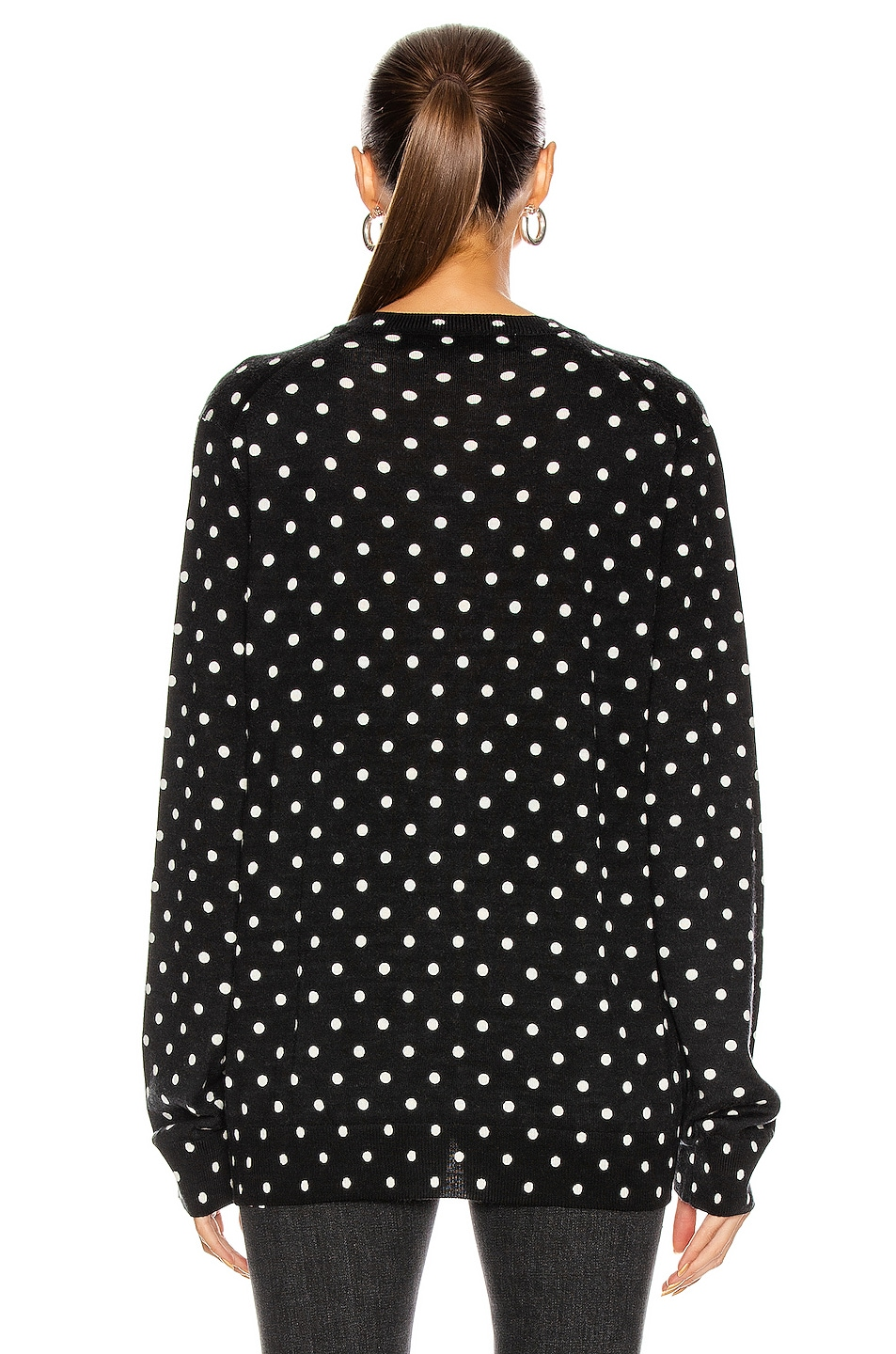 Image 3 of Comme Des Garcons PLAY Wool Jersey Dot Print Black Emblem Sweater in Black