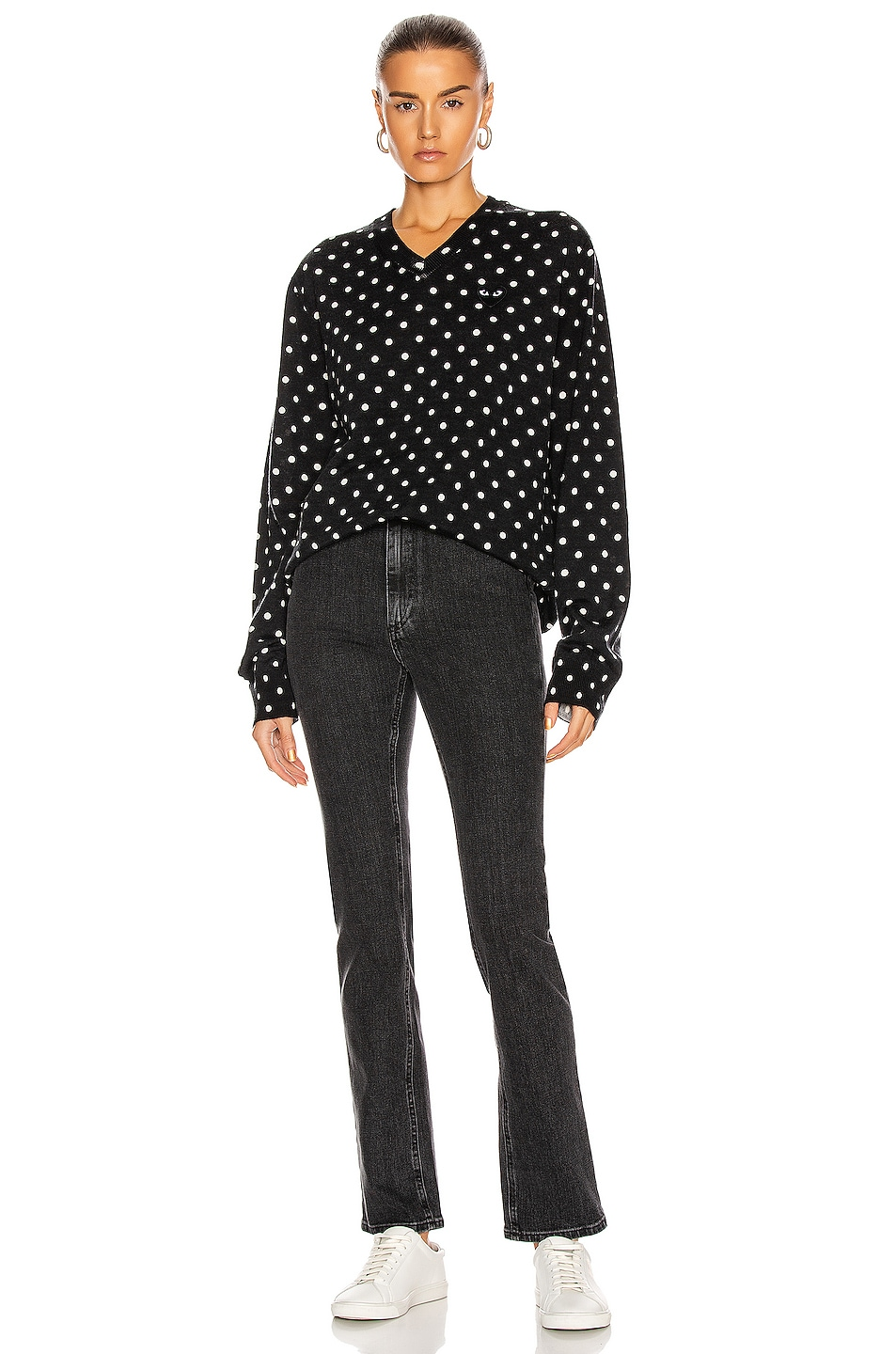 Image 4 of Comme Des Garcons PLAY Wool Jersey Dot Print Black Emblem Sweater in Black