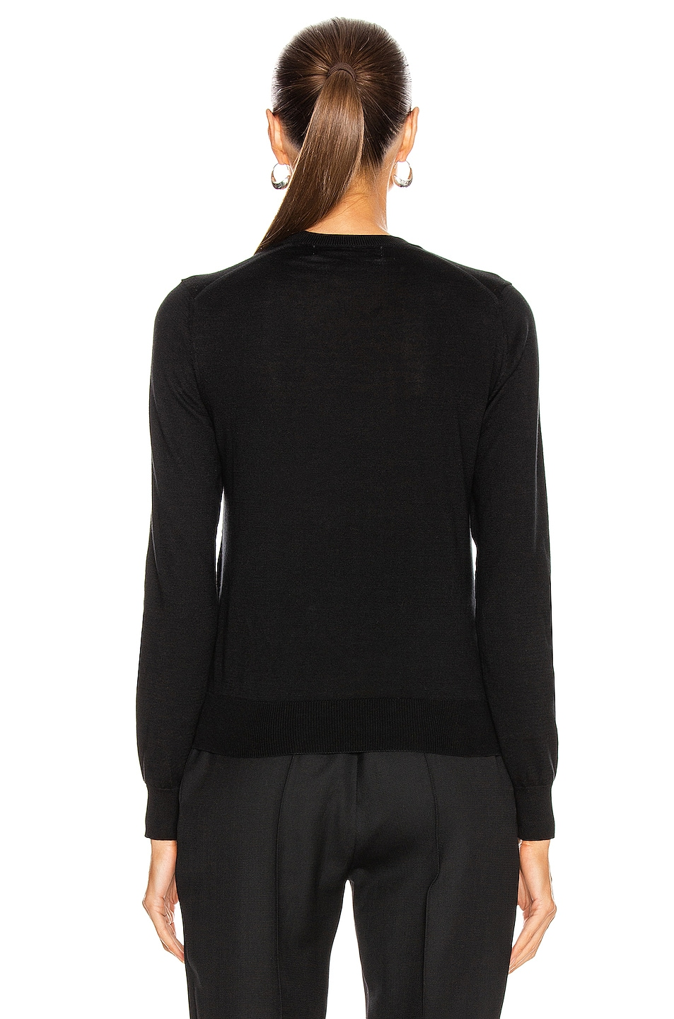 Image 3 of Comme Des Garcons PLAY Small Emblem V Neck Sweater in Black