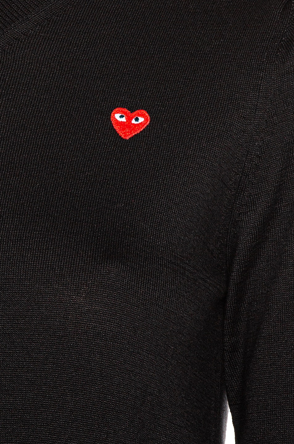 Image 5 of Comme Des Garcons PLAY Small Emblem V Neck Sweater in Black