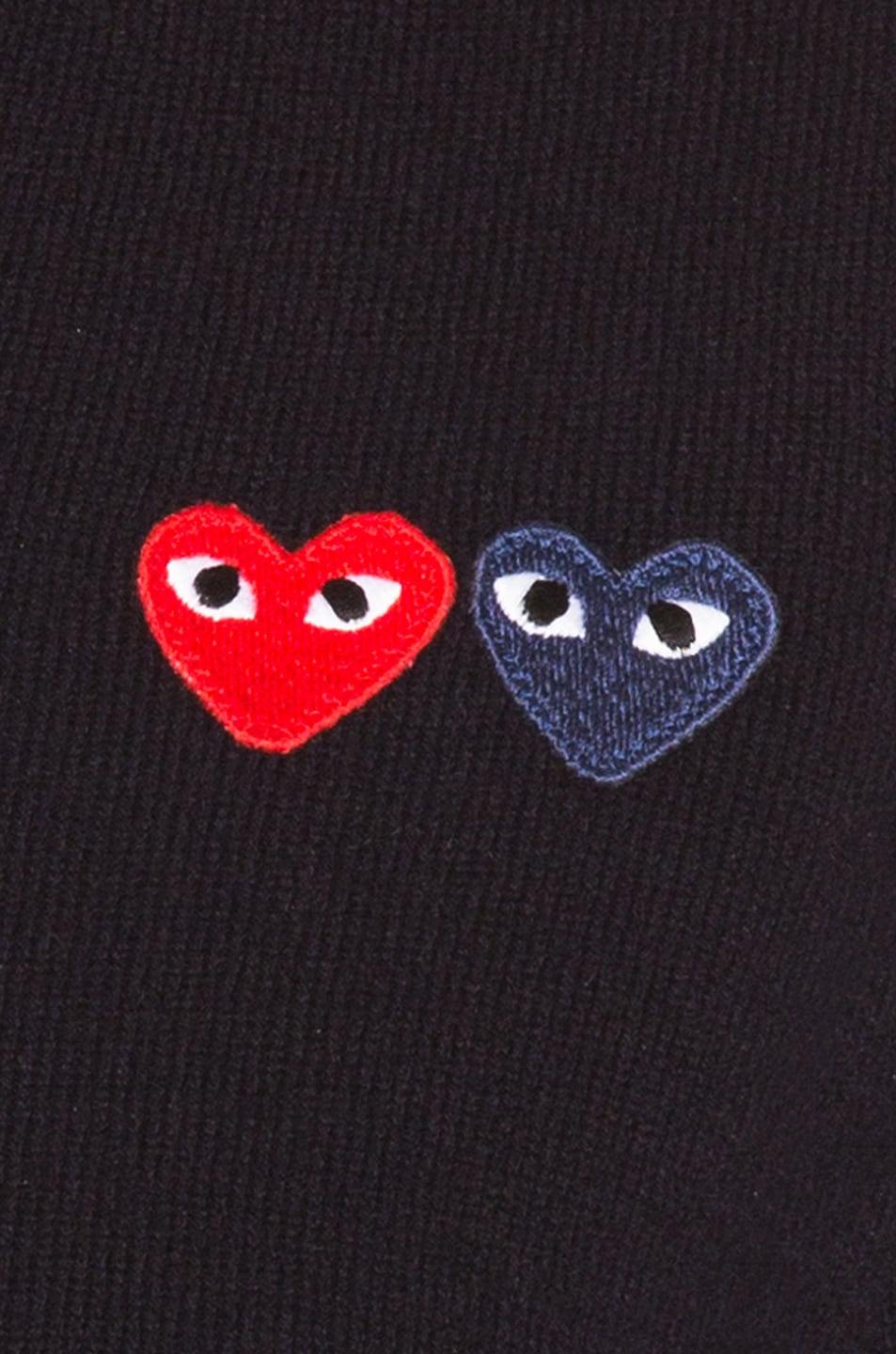 Image 5 of Comme Des Garcons PLAY Double Emblem V Neck Sweater in Black