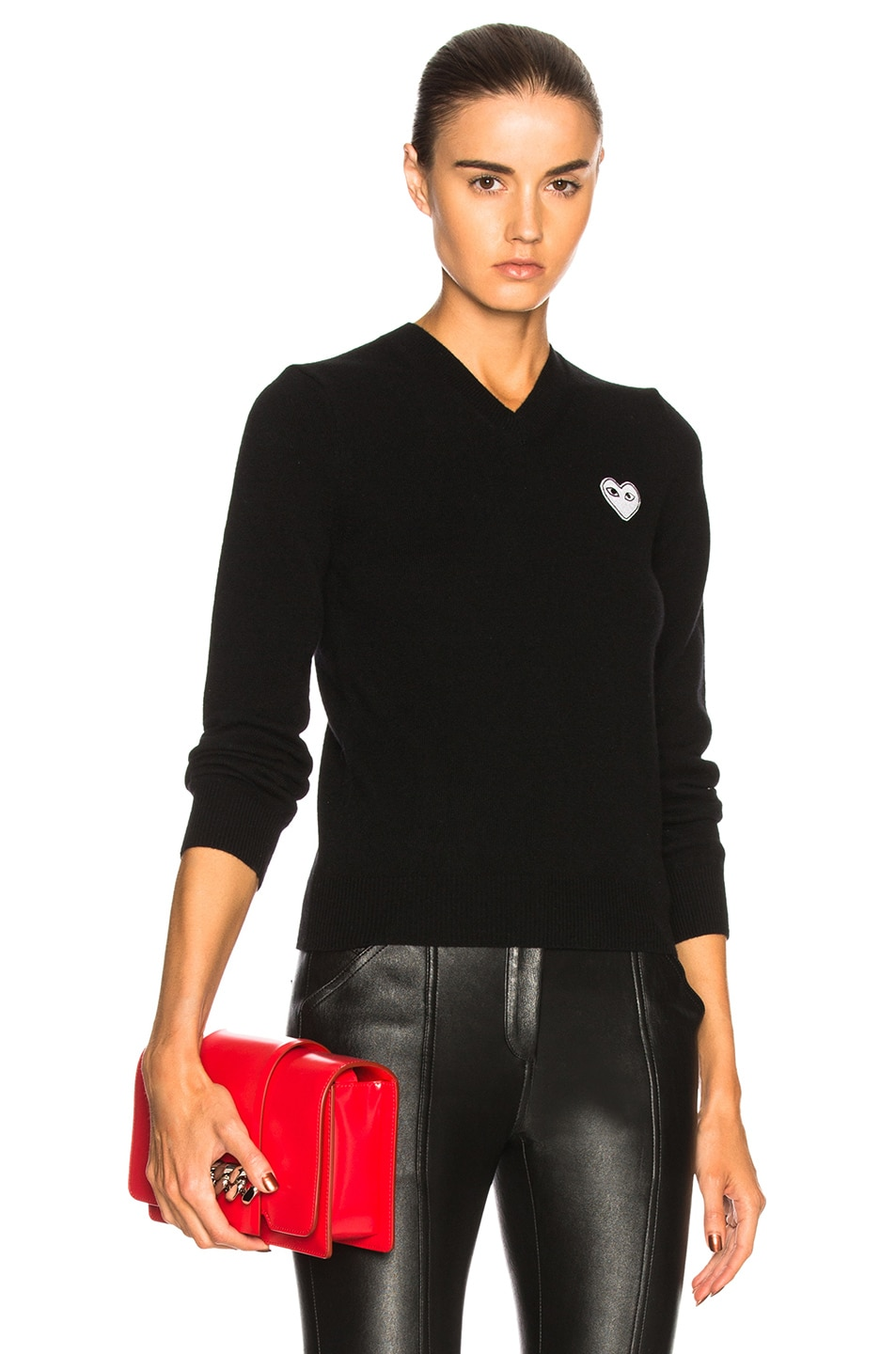 Image 1 of Comme Des Garcons PLAY White Heart Pullover in Black
