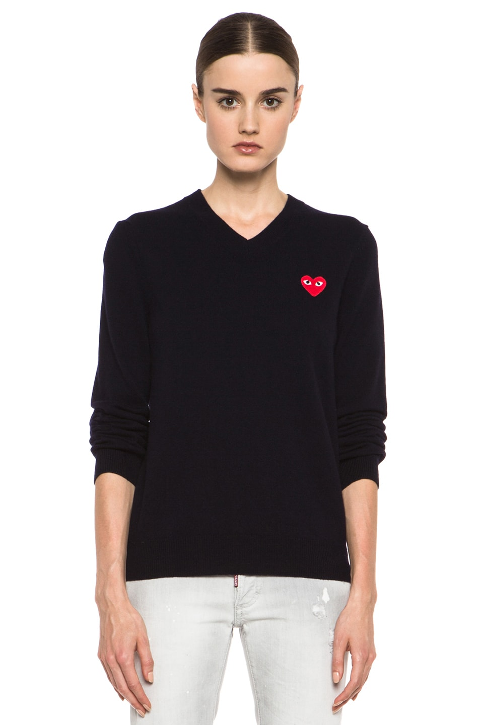 Image 1 of Comme Des Garcons PLAY Wool Red Heart Emblem Sweater in Navy