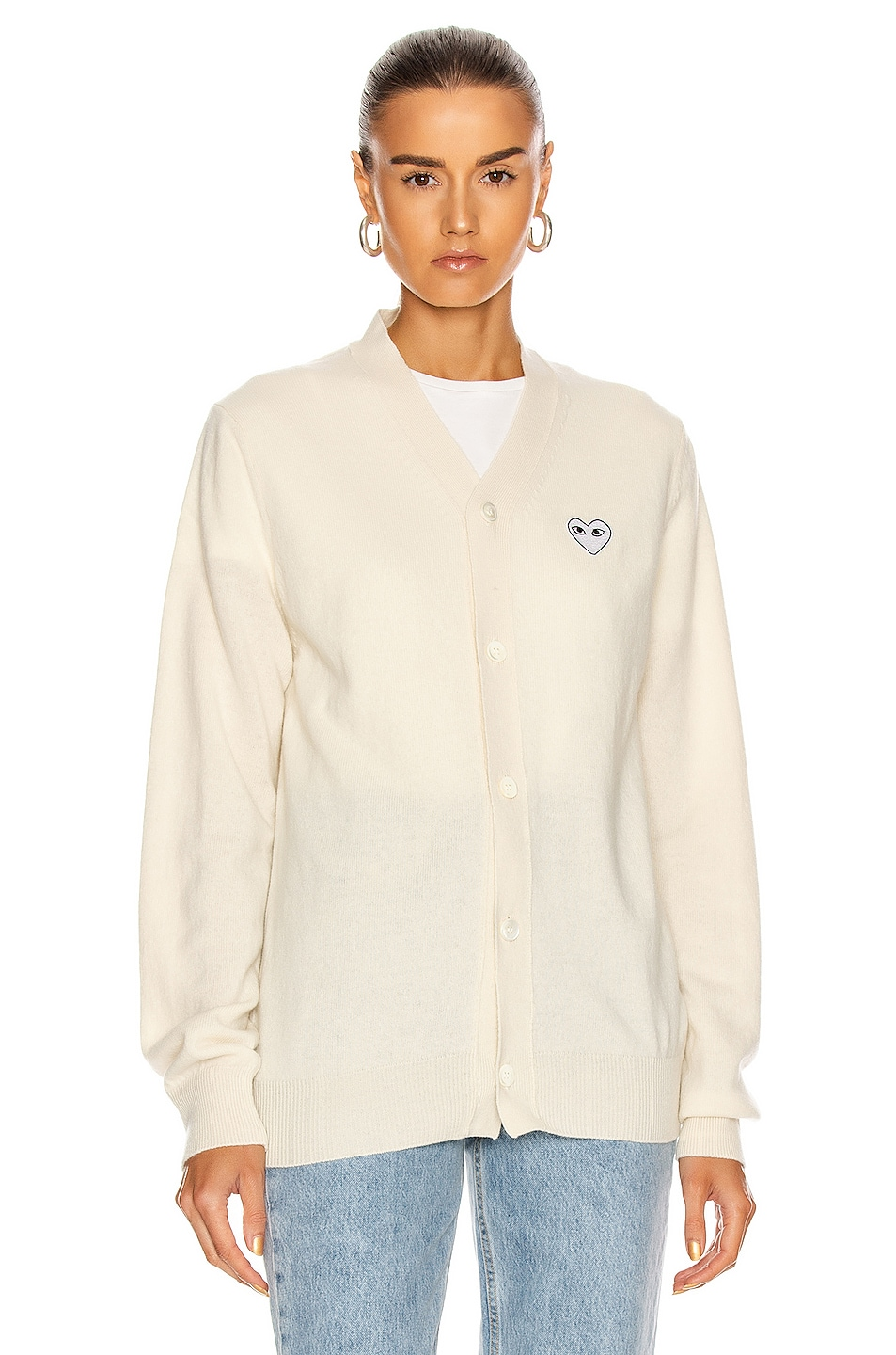 Image 2 of Comme Des Garcons PLAY White Heart Cardigan in Natural