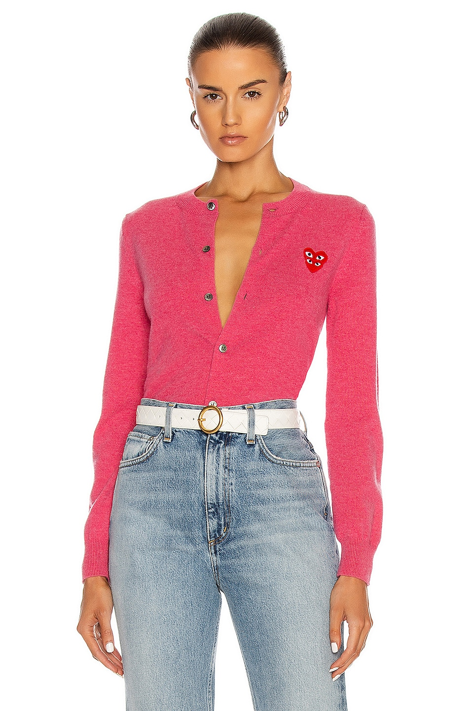 Image 1 of Comme Des Garcons PLAY Cardigan in Pink
