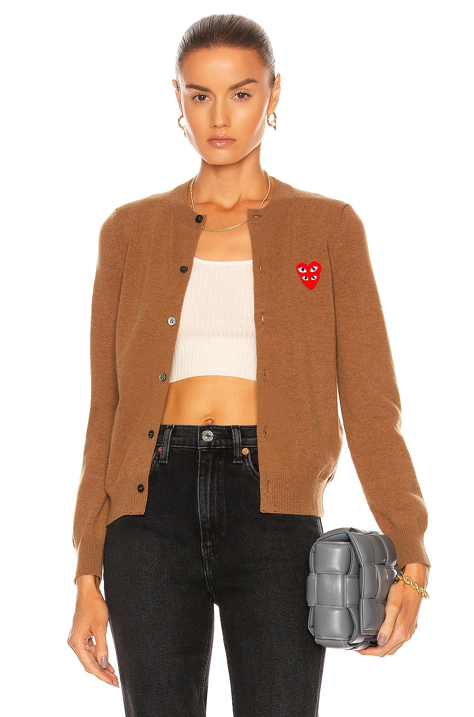 Image 1 of Comme Des Garcons PLAY Cardigan in Brown