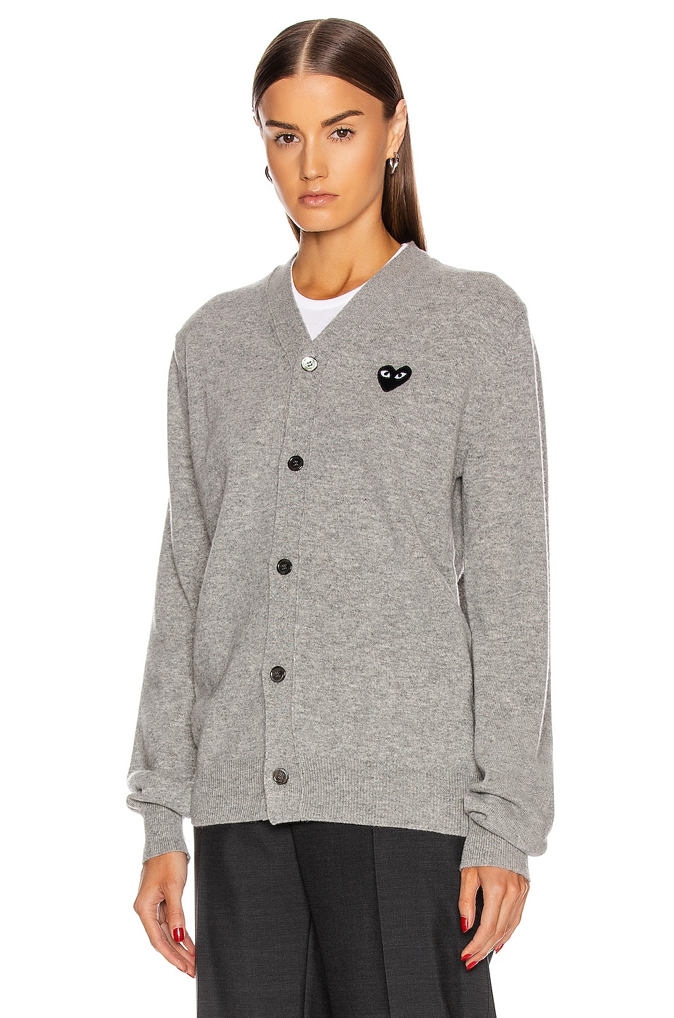 Image 2 of Comme Des Garcons PLAY Wool Black Heart Emblem Cardigan in Light Gray