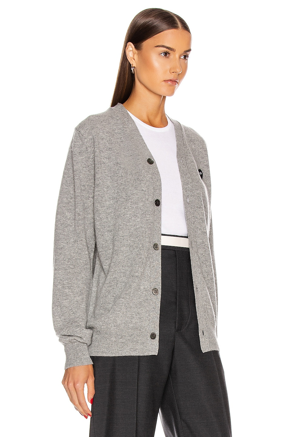 Image 3 of Comme Des Garcons PLAY Wool Black Heart Emblem Cardigan in Light Gray