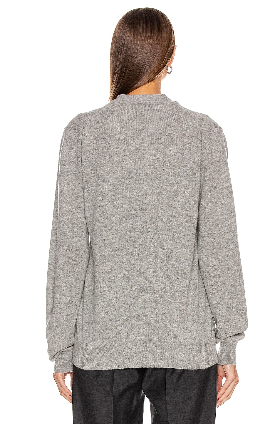 Image 4 of Comme Des Garcons PLAY Wool Black Heart Emblem Cardigan in Light Gray