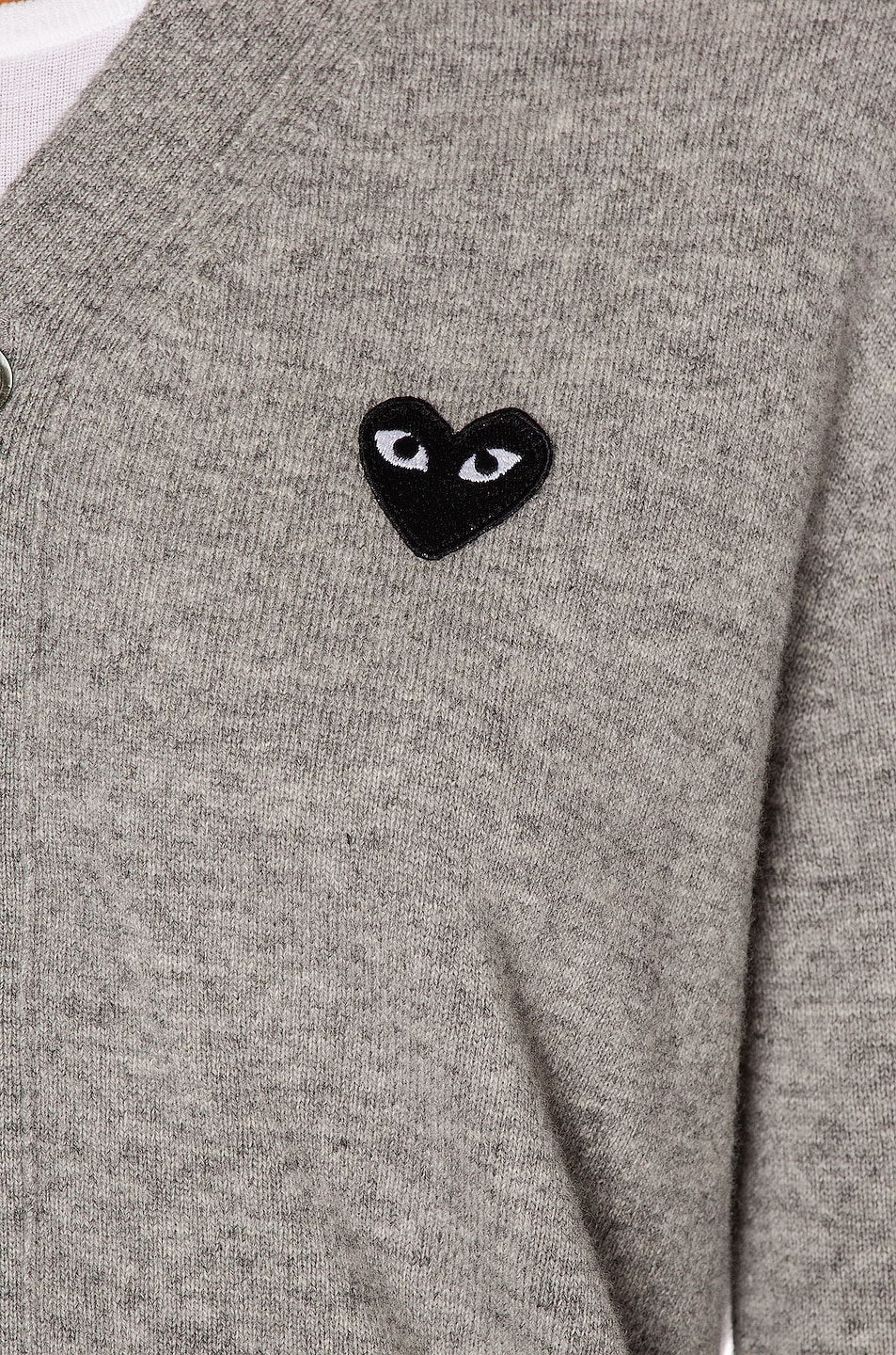 Image 6 of Comme Des Garcons PLAY Wool Black Heart Emblem Cardigan in Light Gray