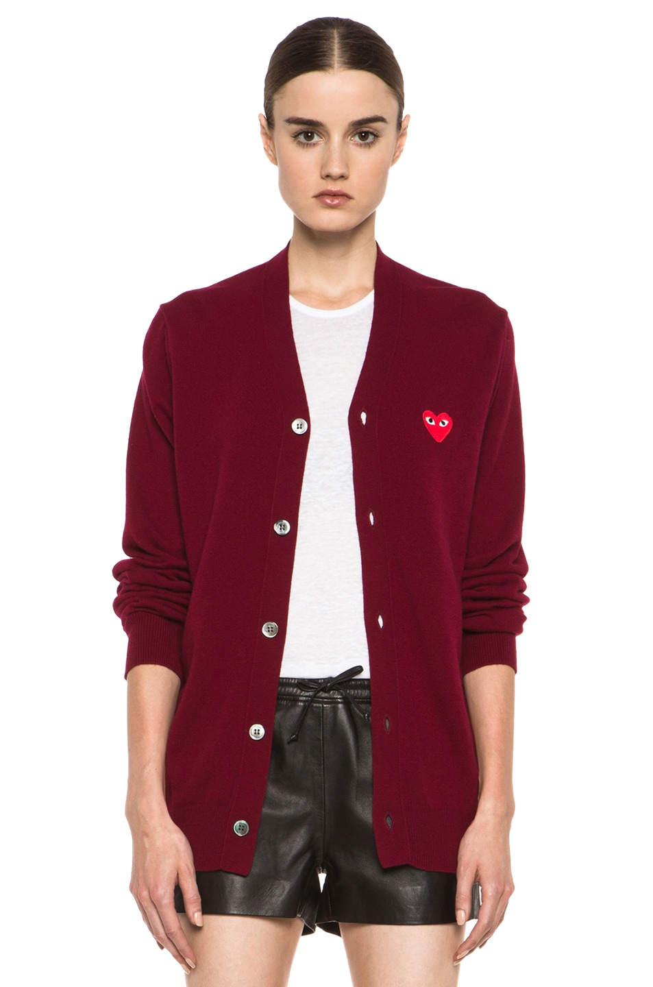 Image 1 of Comme Des Garcons PLAY Wool Cardigan with Red Emblem in Burgundy