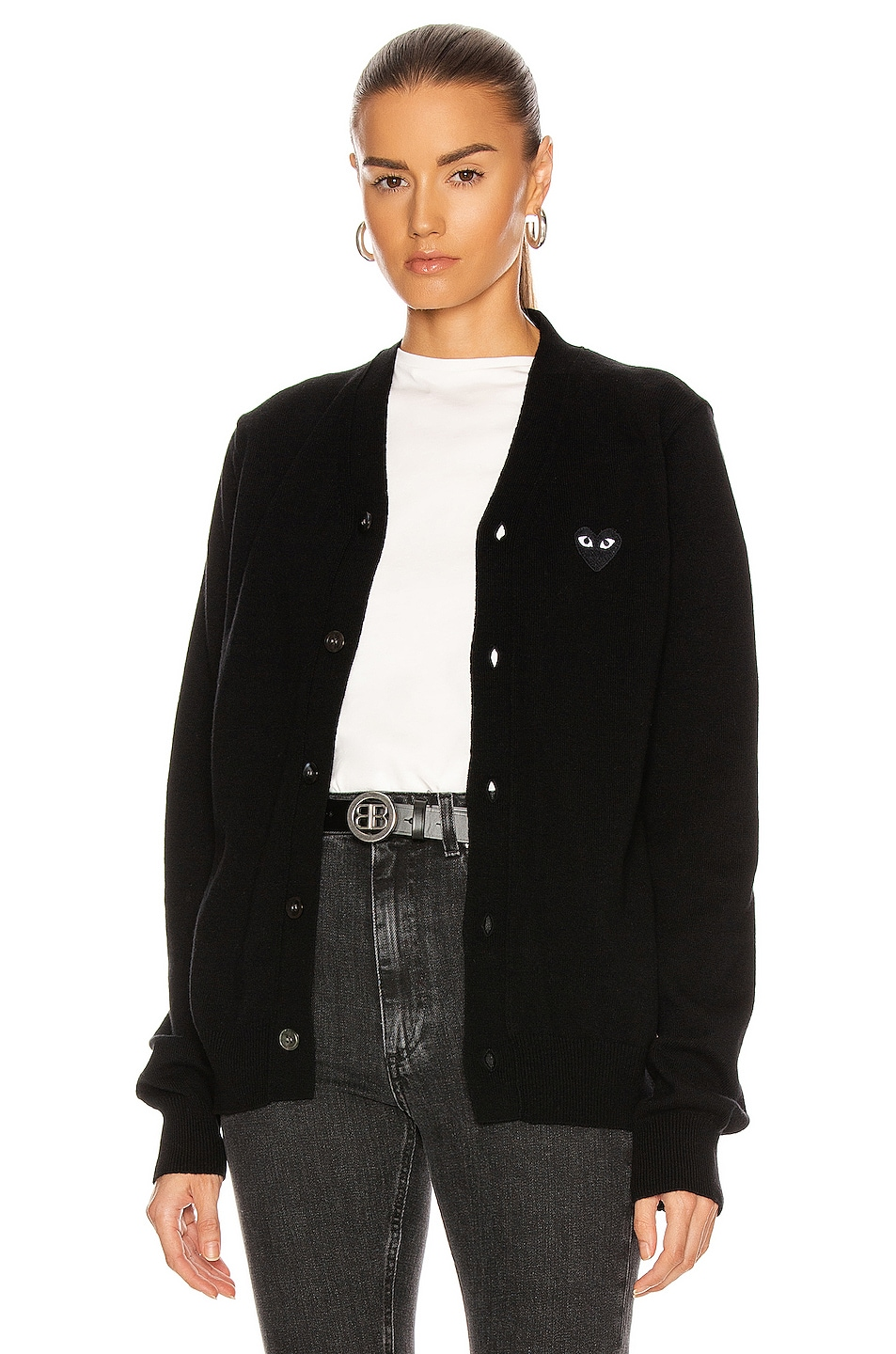 Image 1 of Comme Des Garcons PLAY Wool Cardigan with Black Emblem in Black