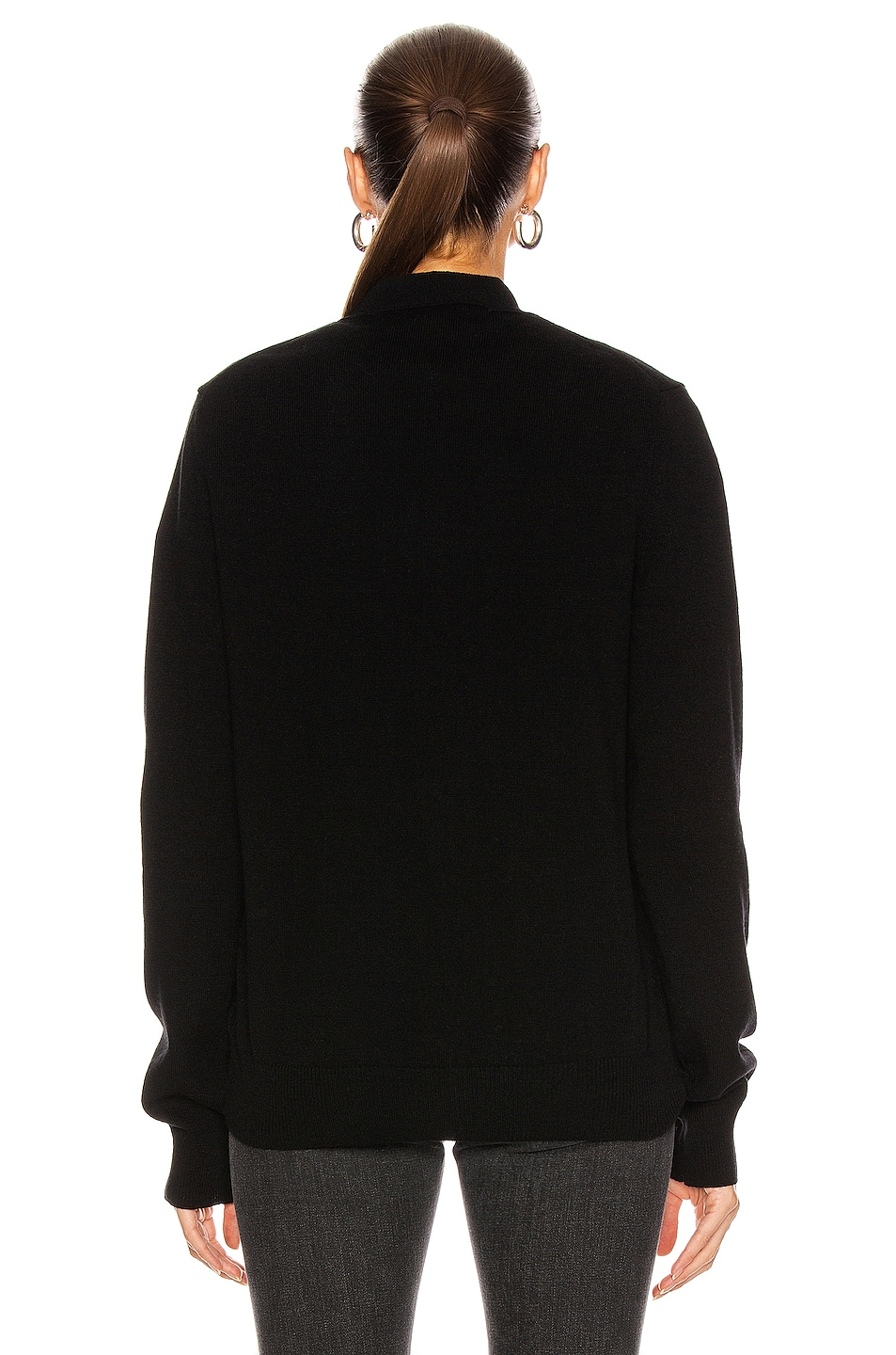 Image 4 of Comme Des Garcons PLAY Wool Cardigan with Black Emblem in Black