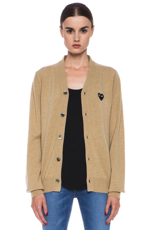 Comme Des Garcons PLAY Wool Black Heart Emblem Cardigan in Light Camel   FWRD