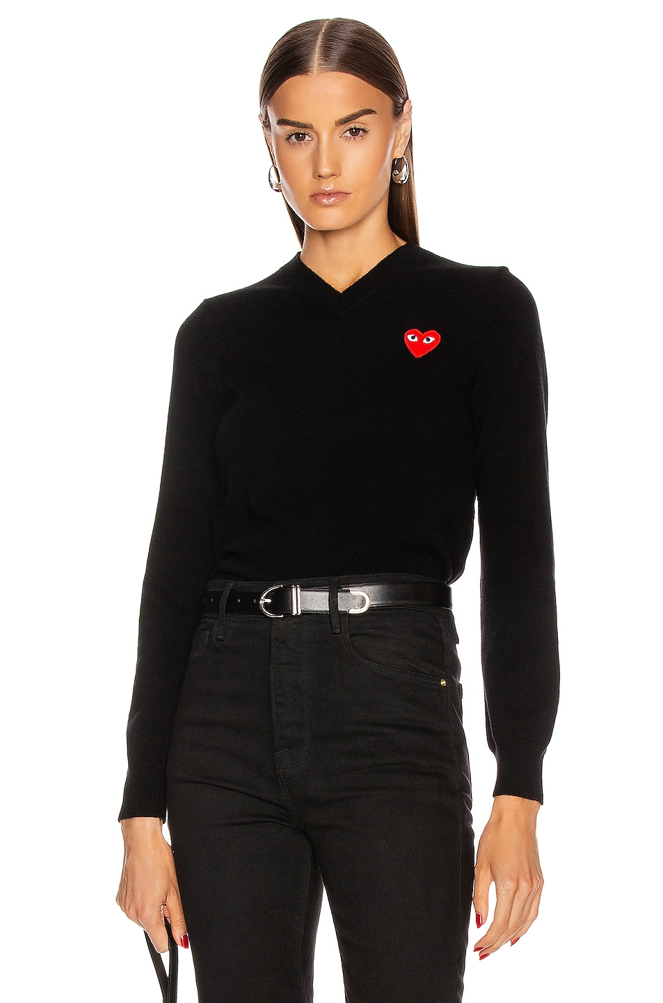 Image 1 of Comme Des Garcons PLAY Wool Jersey Intarsia Red Emblem Sweater in Black