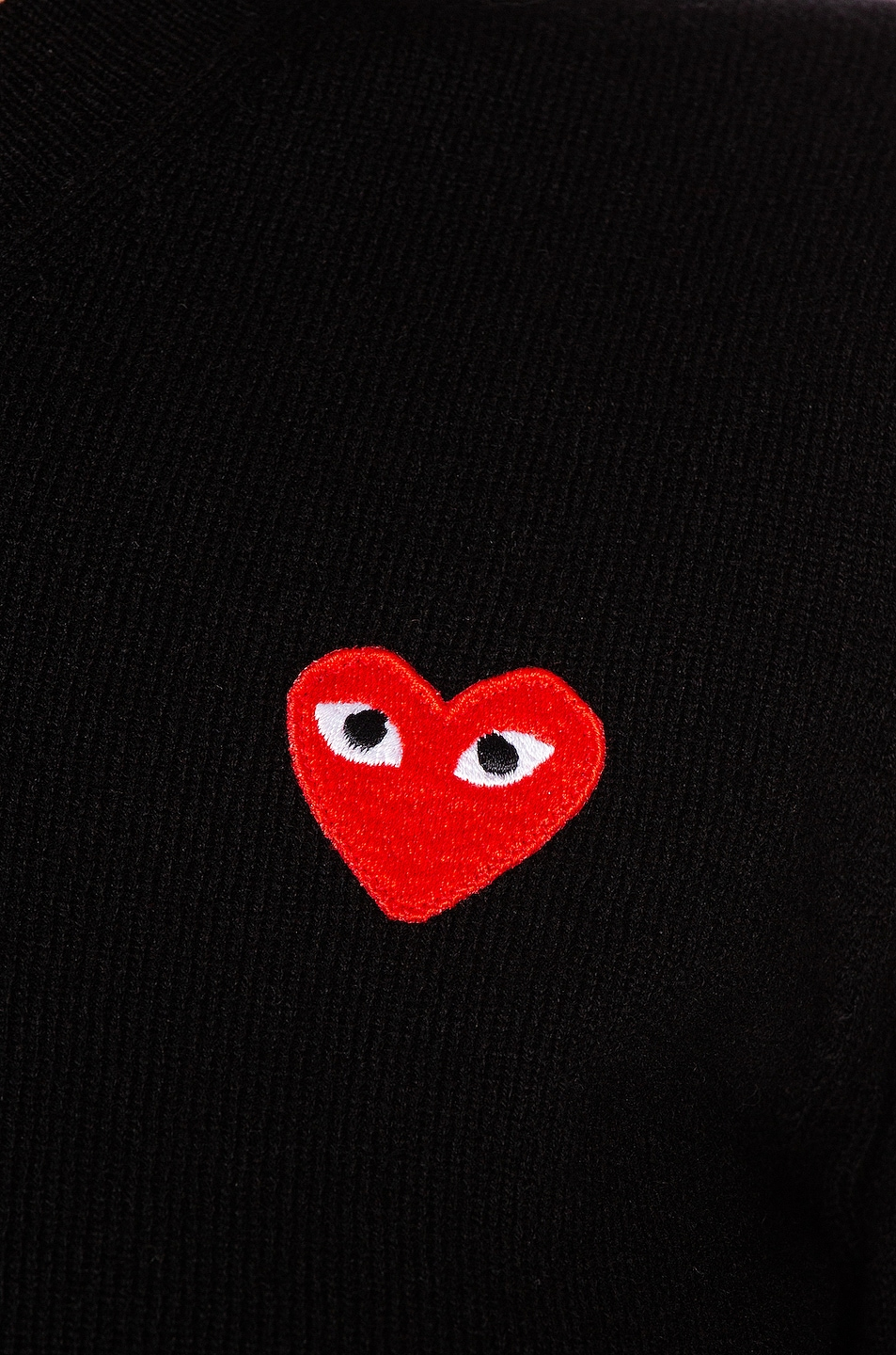 Image 5 of Comme Des Garcons PLAY Wool Jersey Intarsia Red Emblem Sweater in Black