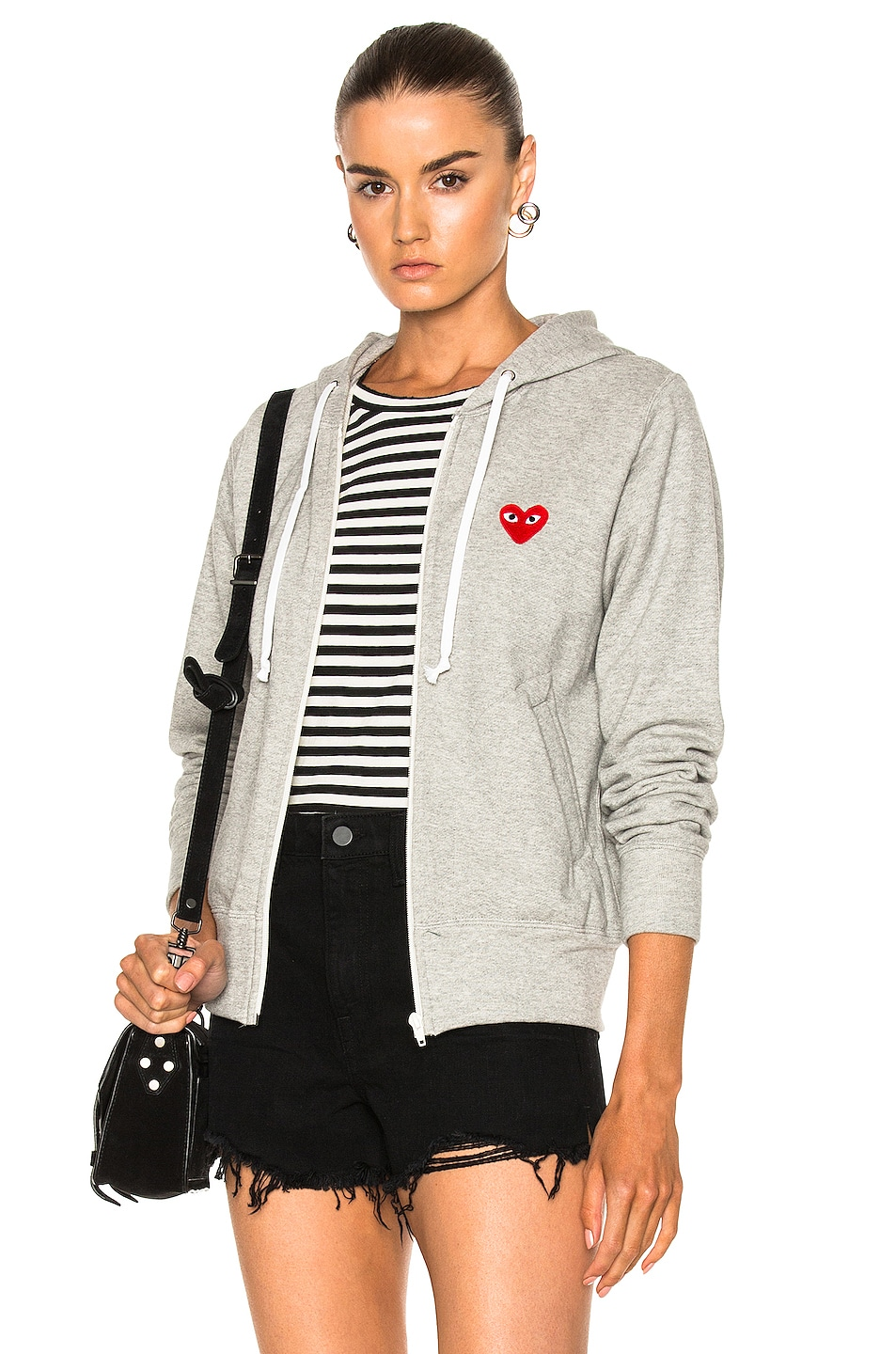 Image 1 of Comme Des Garcons PLAY Zip Up Cotton Hoodie with Red Emblem in Top Gray