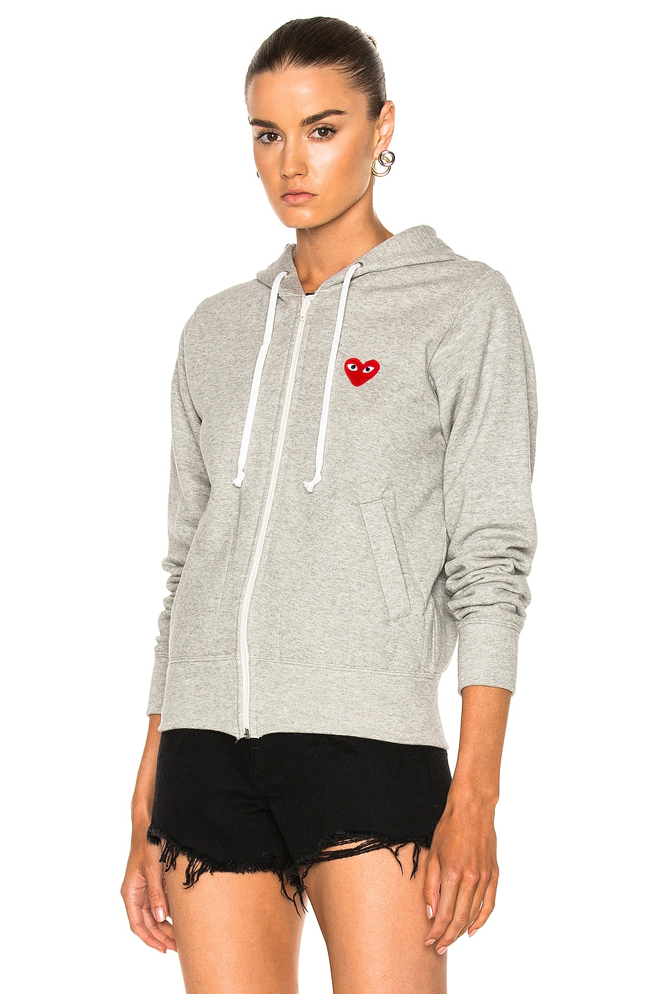 Image 2 of Comme Des Garcons PLAY Zip Up Cotton Hoodie with Red Emblem in Top Gray