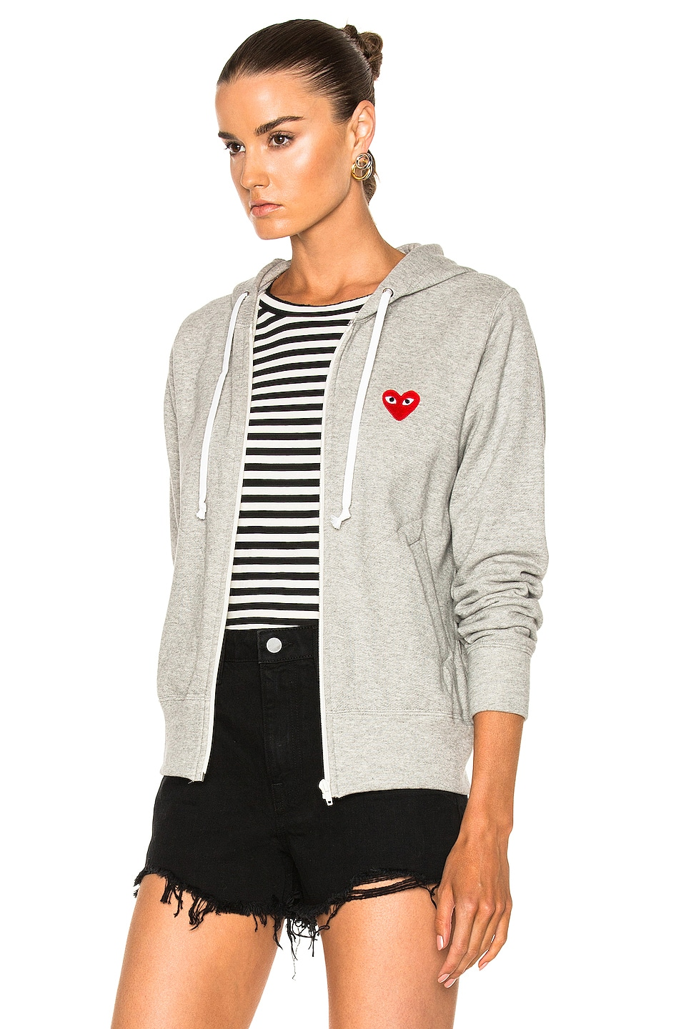 Image 4 of Comme Des Garcons PLAY Zip Up Cotton Hoodie with Red Emblem in Top Gray
