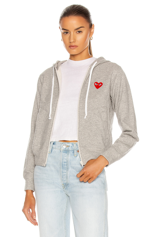 Image 1 of Comme Des Garcons PLAY Full Zip Hoodie in Grey