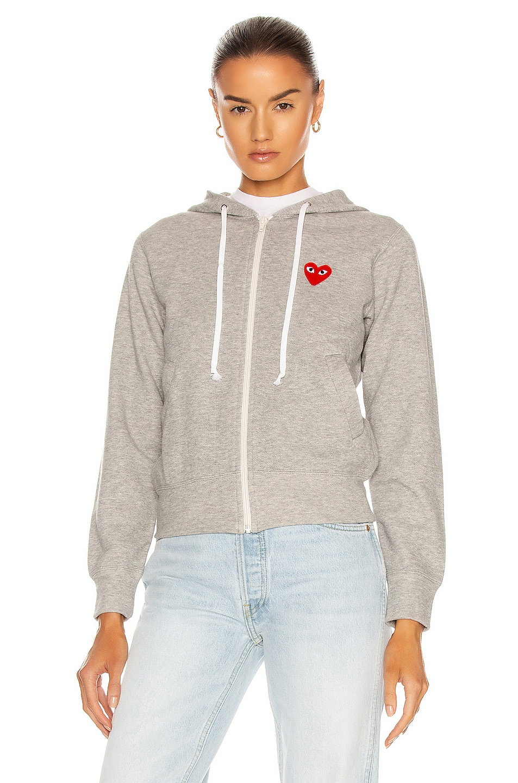 Image 2 of Comme Des Garcons PLAY Full Zip Hoodie in Grey