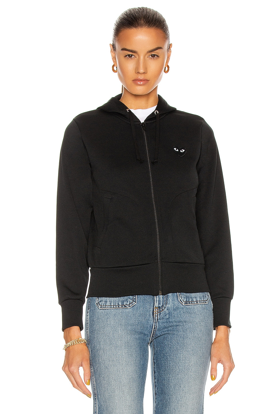 Image 2 of Comme Des Garcons PLAY Big Heart Full Zip Hoodie in Black