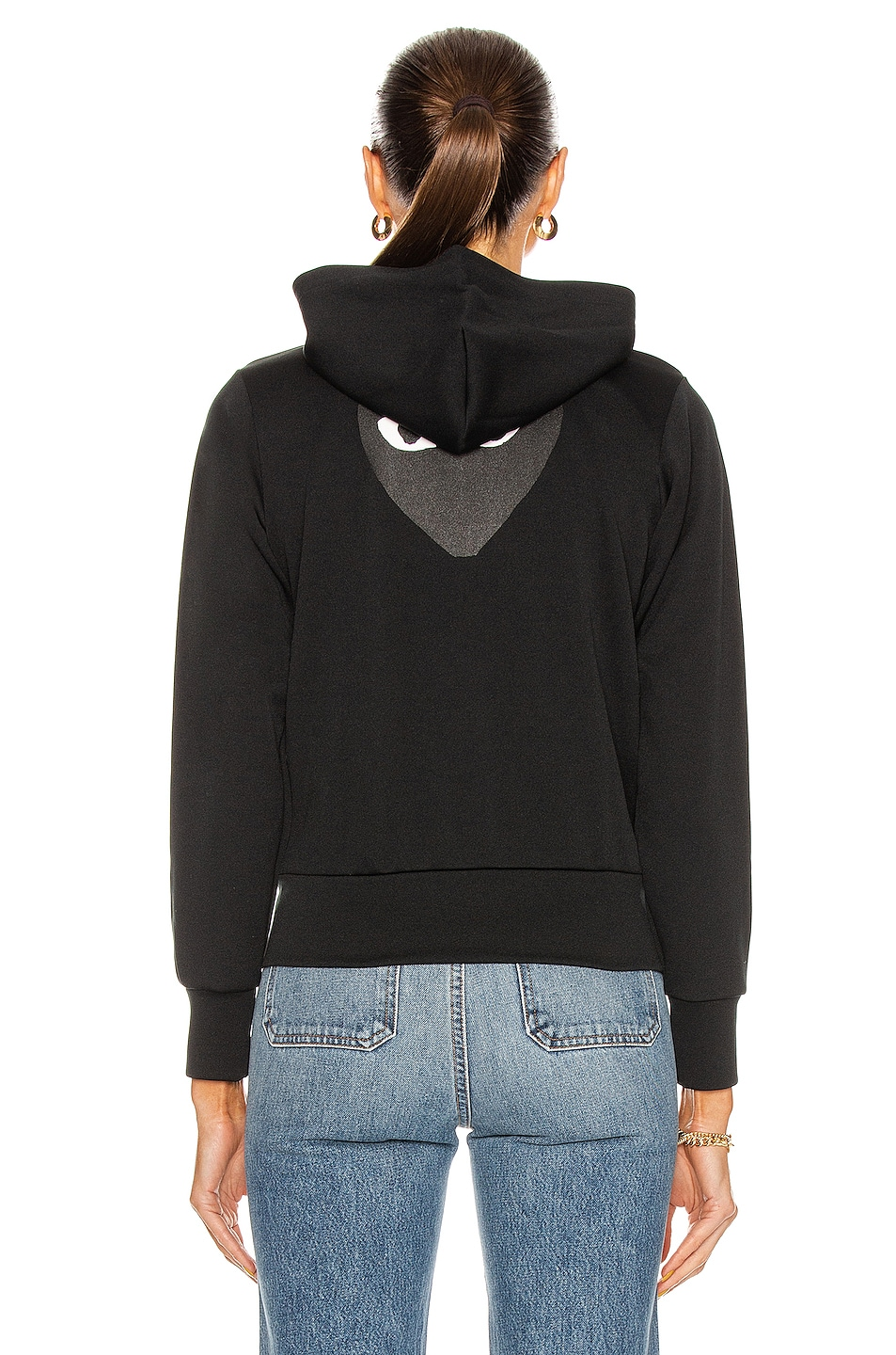 Image 4 of Comme Des Garcons PLAY Big Heart Full Zip Hoodie in Black