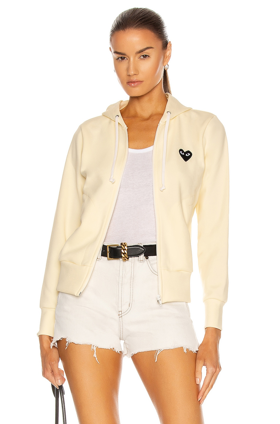 Image 1 of Comme Des Garcons PLAY Big Heart Full Zip Hoodie in Ivory