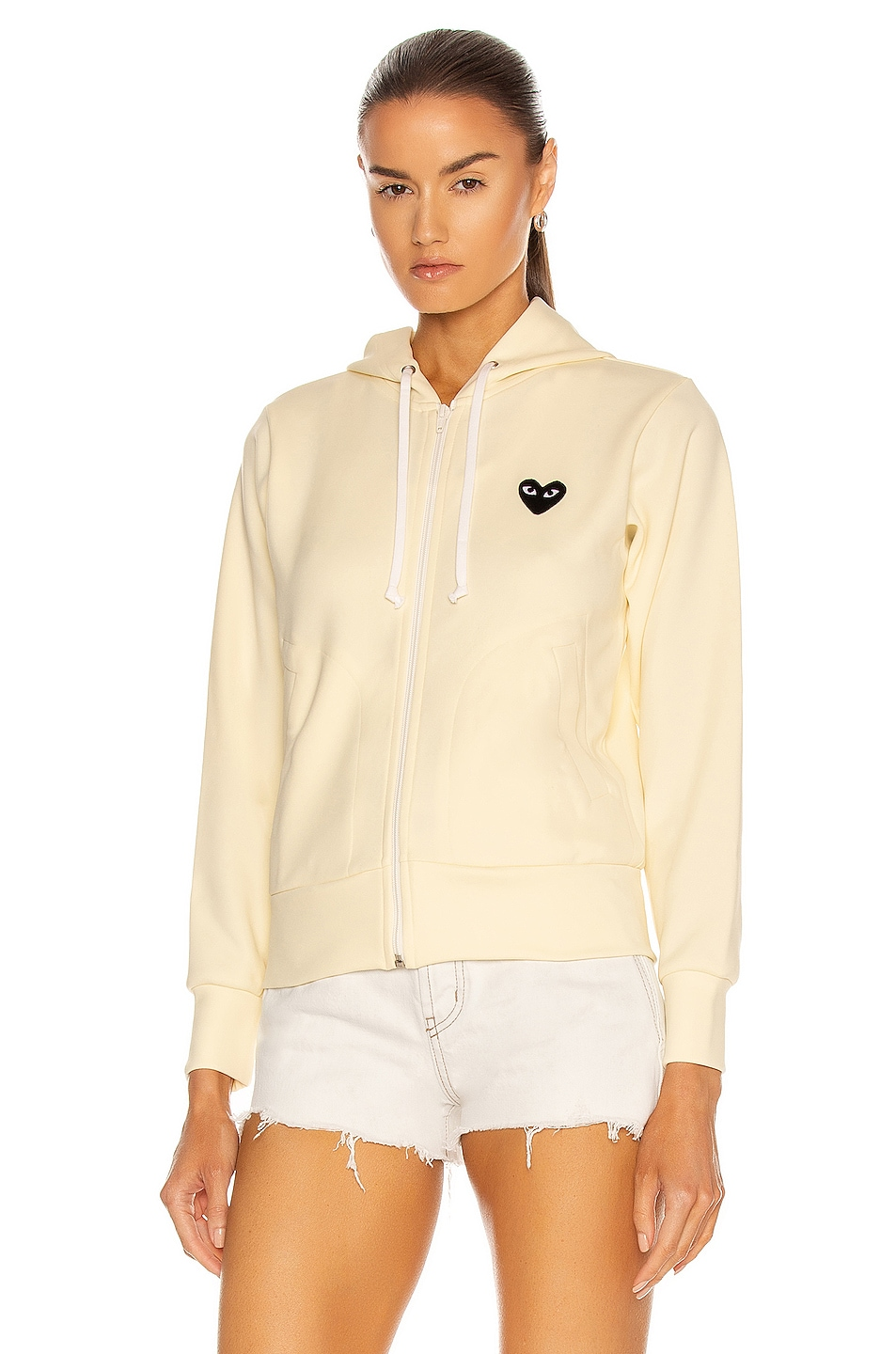 Image 2 of Comme Des Garcons PLAY Big Heart Full Zip Hoodie in Ivory